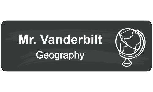 School Geography Rectangle 2 Line Name Tag