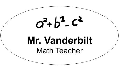 Teacher Oval 2 Line Name Tag C