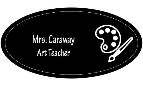 Art Teacher Oval 2 Line Name Tag