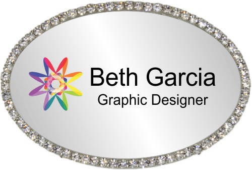 Full Color Rhinestone Oval Name Tag