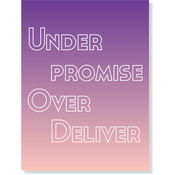 "Under Promise Over Deliver Poster Sign - 18"" x 24"""