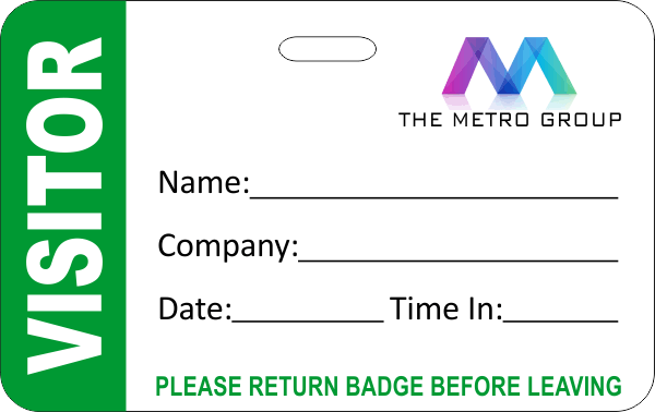 Dry Erase Visitor Badge with Custom Logo