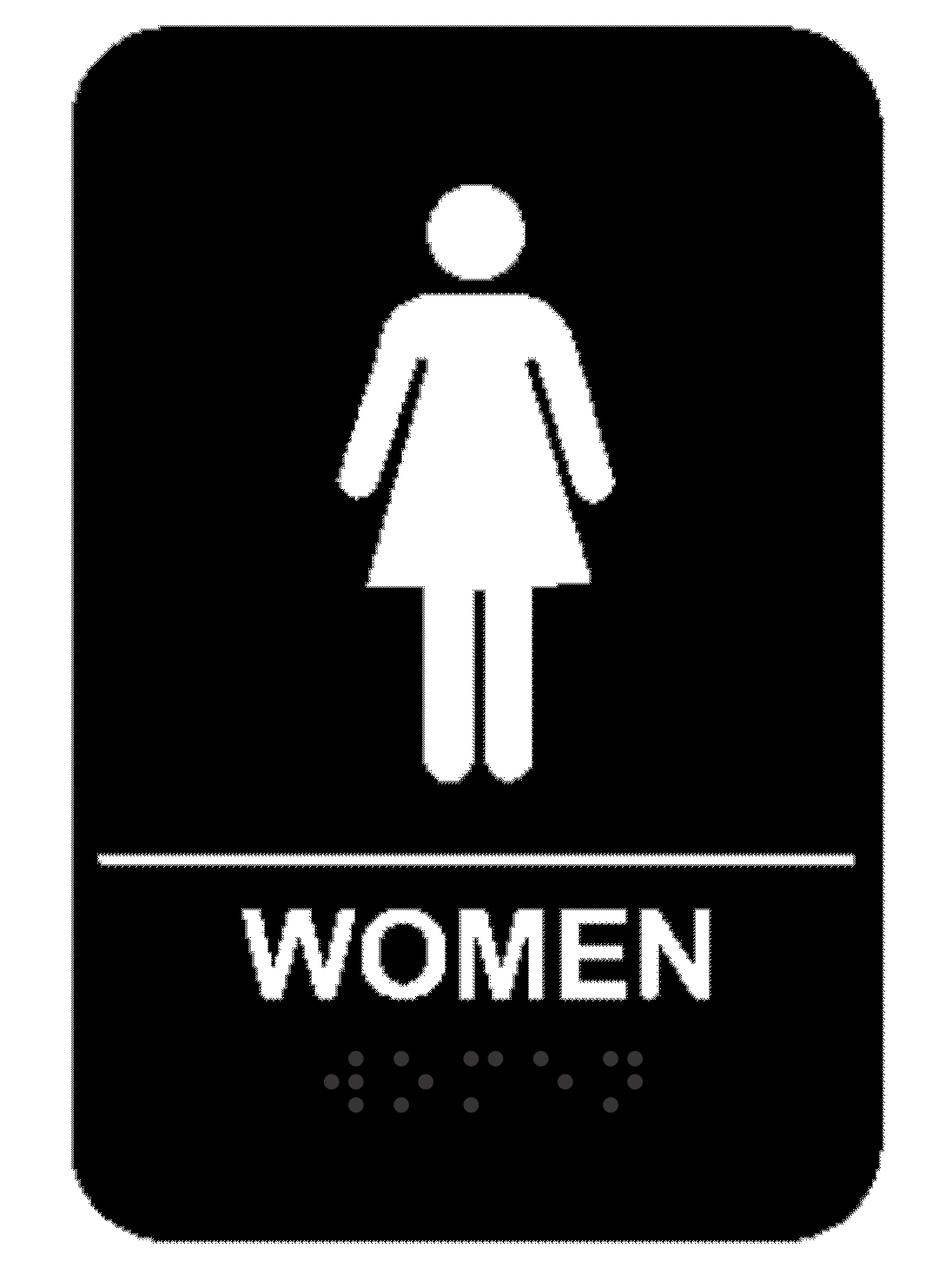 Black Women's ADA Braille Restroom Sign