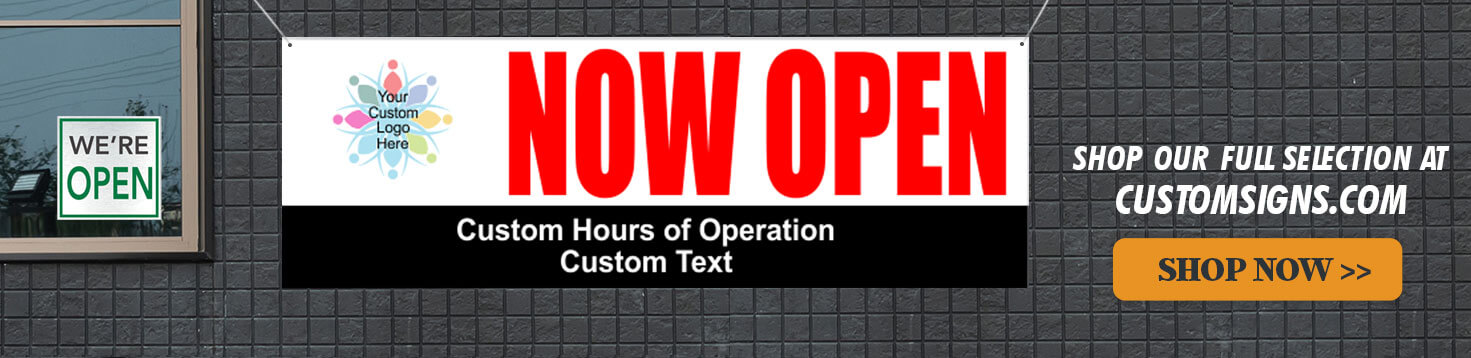 We're Open Sign from Custom Signs