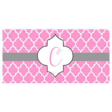 Pink Monogram Car Tag