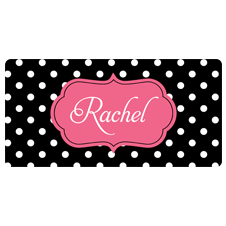 Pink and Polka Dot Car Tag